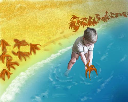 Малыш и морская звезда